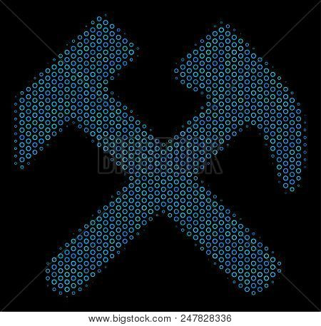 Halftone Hammers Mosaic Icon Of Circle Elements In Blue Color Tones On A Black Background. Vector Ci