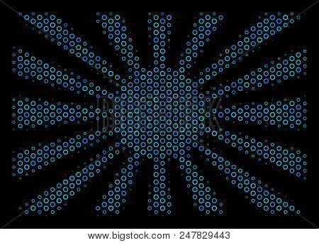 Halftone Japanese Rising Sun Composition Icon Of Empty Circles In Blue Color Tones On A Black Backgr