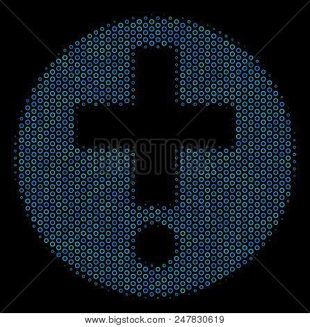 Halftone Medical Pharmacy Mosaic Icon Of Circle Bubbles In Blue Color Tones On A Black Background. V