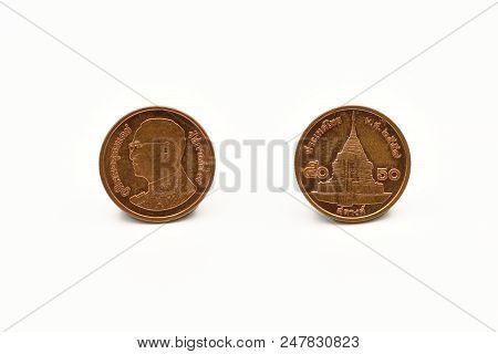 Front And Back, Thai Fifty Satang Collect Coins Year 2016. The Front Of The Medal Is The King Bhumib