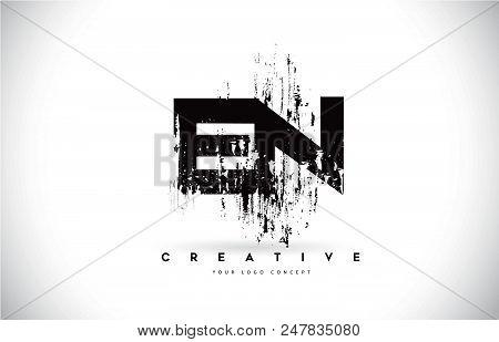 En E N Grunge Brush Letter Logo Design In Black Colors. Creative Brush Letters Vector Illustration.