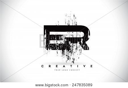 Er E R Grunge Brush Letter Logo Design In Black Colors. Creative Brush Letters Vector Illustration.