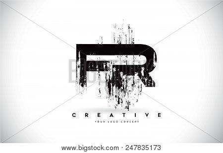 Fr F R Grunge Brush Letter Logo Design In Black Colors. Creative Brush Letters Vector Illustration.