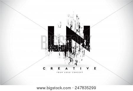Ln L N Grunge Brush Letter Logo Design In Black Colors. Creative Brush Letters Vector Illustration.