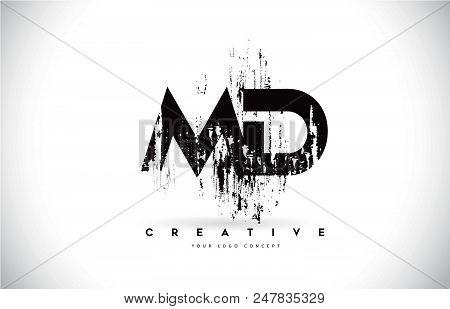 Md M D Grunge Brush Letter Logo Design In Black Colors. Creative Brush Letters Vector Illustration.