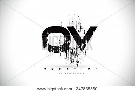 Ov O V Grunge Brush Letter Logo Design In Black Colors. Creative Brush Letters Vector Illustration.