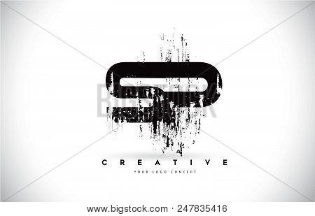 Sp S P Grunge Brush Letter Logo Design In Black Colors. Creative Brush Letters Vector Illustration.