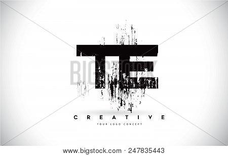 Te T E Grunge Brush Letter Logo Design In Black Colors. Creative Brush Letters Vector Illustration.