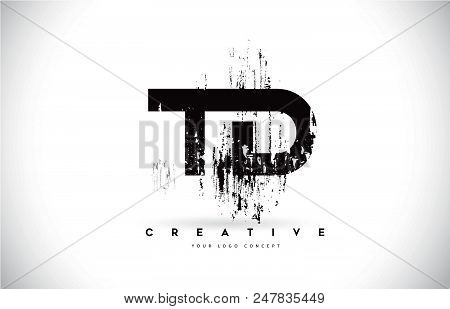 Td T D Grunge Brush Letter Logo Design In Black Colors. Creative Brush Letters Vector Illustration.
