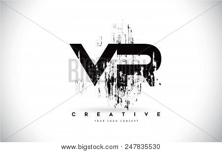 Vr V R Grunge Brush Letter Logo Design In Black Colors. Creative Brush Letters Vector Illustration.