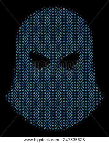 Halftone Terrorist Balaklava Mosaic Icon Of Spheric Bubbles In Blue Shades On A Black Background. Ve