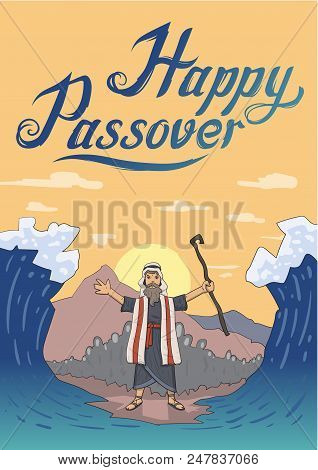 Moses Separates Sea For Passover Holiday Over Mountain Background. Exodus, Pesach. Card Design With