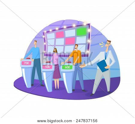 Quiz Show Tv-studio With Host And Contestants. Screen, Stands And Lights. Colorful Flat Vector Illus