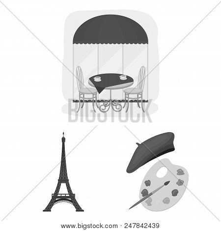Country France Monochrome Icons In Set Collection For Design. France And Landmark Vector Symbol Stoc