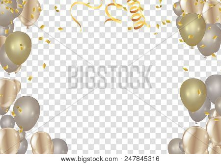 Stock Vector Illustration Realistic Defocused Golden Confetti Gold. Transparent And Striped Balloons