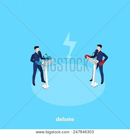 Men In Business Suits And Boxing Gloves Stand Behind The Stands With A Microphone And Conduct Debate