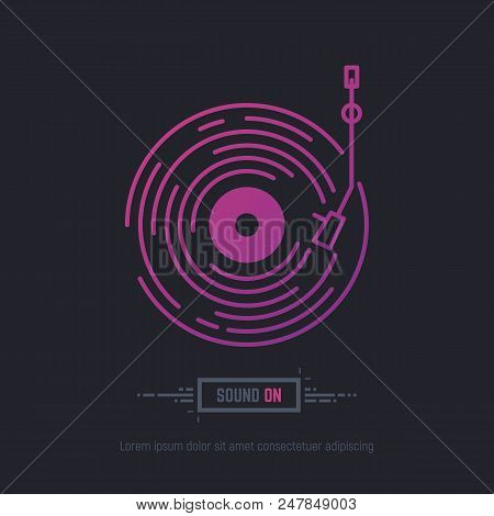 Emblem Of Vinyl Record In Purpule And Pink Neon Gradient Colors. Dj Or Retro Party With Vinyl Music.