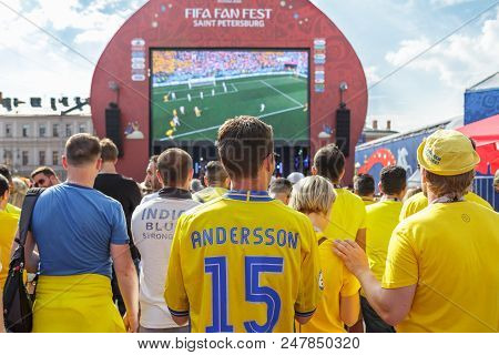 St. Petersburg, Russia - June 18, 2018: Supporters Of Sweden National Football Team Watching Game Ma