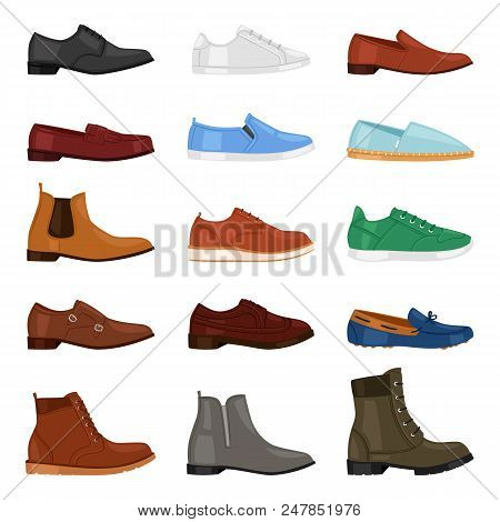 Man Shoe Vector Fashion Male Boots And Classic Leather Footwear Or Footgear For Men Illustration Set