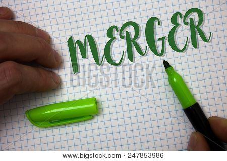 Conceptual Hand Writing Showing Merger. Business Photo Text Combination Of Two Things Or Companies F
