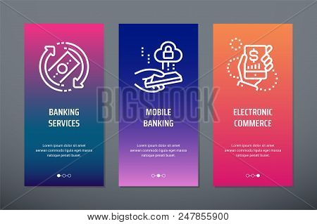 Banking Services, Mobile Banking, Electronic Commerce Vertical Cards With Strong Metaphors. Template