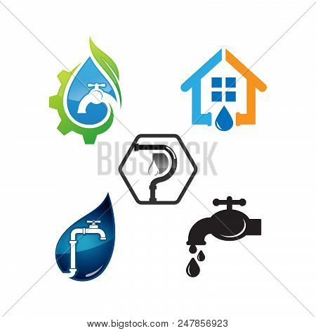 Plumber Working Logo And Force Plumbing Label Vector Set. Template Of Logo Plumbing Works. Urgently