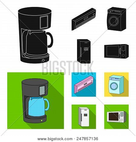 Home Appliances And Equipment Black, Flat Icons In Set Collection For Design.modern Household Applia