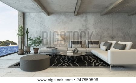 Rustic living room interior with white sofa and stone wall. 3d Rendering