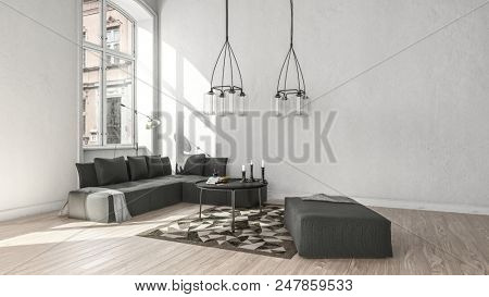 Cozy rustic living room interior in a scandinavian style with gray couch and carpet. 3d Rendering.