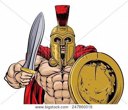 An illustration of a gladiator, ancient Greek, Trojan or Roman warrior or gladiator wearing a helmet and holding a sword and round shield poster