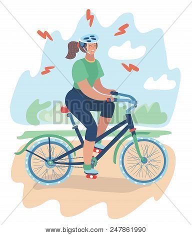 Vector Cartoon Illustration Of Tense Girl In Helmet With Mountain Bike Ride. Sport For Beginner. Try