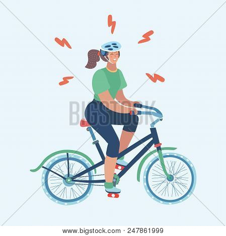 Vector Cartoon Illustration Of Woman On Bicycle. Female On Exercise Bike In Gym. Annoyed Girl Hard T