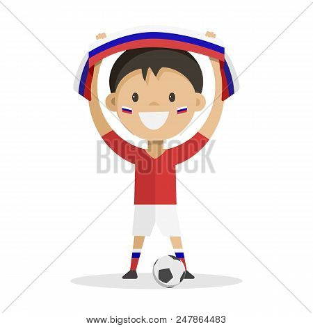 Football Player With A Ball On A White Background Raises A Scarf With The Flag Of Russia Over His He