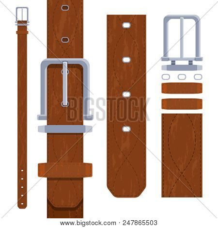 Leather Belt For Men. Accessory Brown Waistband, Waist Strap. Vector Illustration