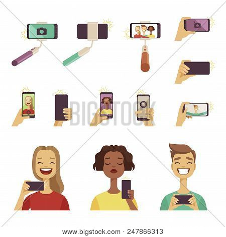 Peoples Making Selfie. Various Tools And Accessories For Self Photos At Smartphone. Selfie Photo, Sm
