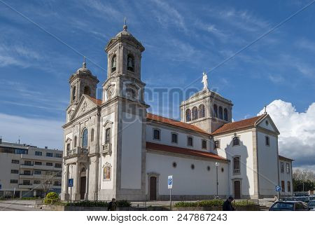 Povoa De Varzim, Portugal, April 2013: Old Catholic Church  Sacred Heard Of Jesus In Povoa De Varzim