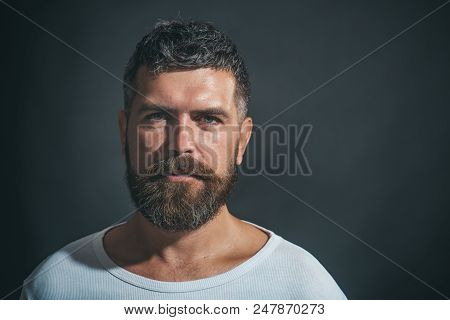 Sexy Look Of Male Model Man. Bearded Man. Stylish Hipster Brutal Man With Beard, Mustache, Beautiful