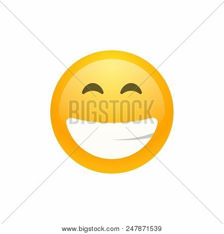Isolated Yellow Smiling Emoji Face With The Upper White Teeth Icon