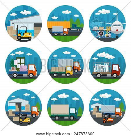 Set Of Transportation Icons, Airplane With Autoloader At The Airport, Trucks Drive On The Road , War