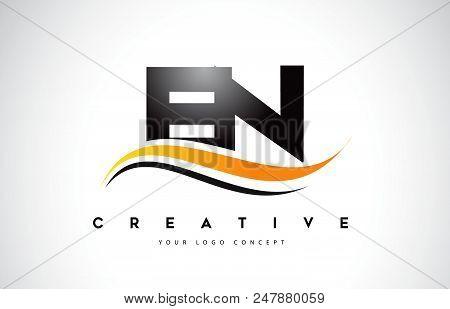 En E N Swoosh Letter Logo Design With Modern Yellow Swoosh Curved Lines Vector Illustration.