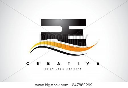 Re R E Swoosh Letter Logo Design With Modern Yellow Swoosh Curved Lines Vector Illustration.