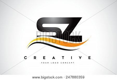 Sz S Z Swoosh Letter Logo Design With Modern Yellow Swoosh Curved Lines Vector Illustration.