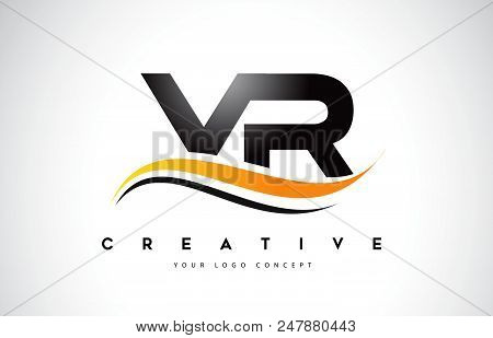 Vr V R Swoosh Letter Logo Design With Modern Yellow Swoosh Curved Lines Vector Illustration.