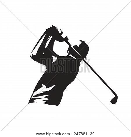 Golf Player Logo, Isolated Vector Silhouette. Individual Sports. Golfer Icon