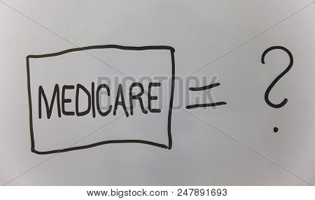Writing note showing Medicare. Business photo showcasing Federal health insurance for people above 65 or with disabilities Question answer equal plane light background problem calculation board poster