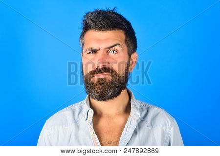 Serious Man. Serious Bearded Man Looking At Camera. Man With Long Beard And Mustache With Serious Fa