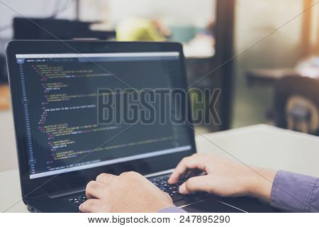 Developing Programming And Coding Technologies On Desk White, Website Design, Programmer Working In