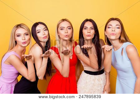 Pouted Lips, Ladies! ! Five Young Hot Coquettes Are Posing For Photo, All In Colorful Cocktail Dress