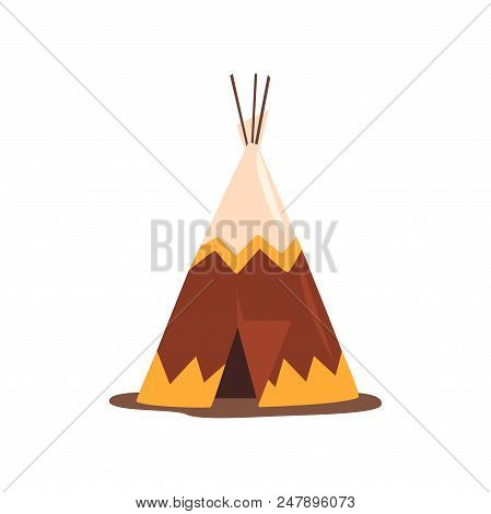 Teepee or wigwam, dwelling of north nations of Canada, Siberia, North America vector Illustration isolated on a white background. poster