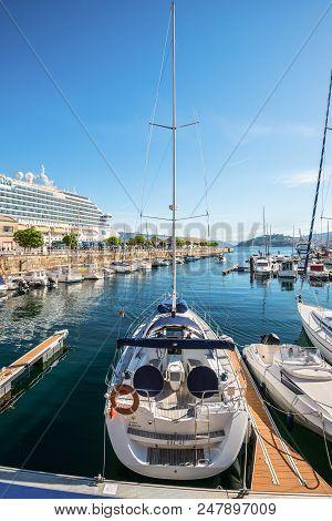 Vigo, Spain - May 20, 2017: Sailing Yacht Moored In The Port Of Vigo, Galicia, Spain. Vigo, Which Wa